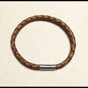 5mm Light Brown Bolo Leather Bracelet with Clasp